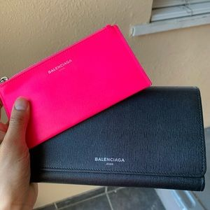 Balenciaga Black neon pink leather wallet